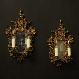 French Pair Of Gilded Antique Girandoles