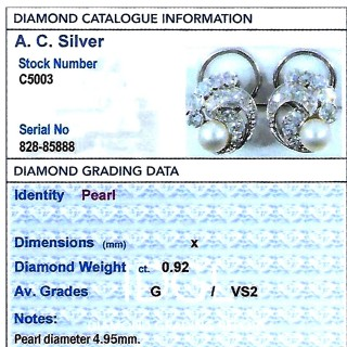 Cultured Pearl, 0.92 ct Diamond, Platinum and 18 ct White Gold Clip On Earrings - Vintage Circa 1950