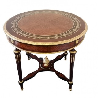 19TH CENTURY FRENCH AMBOYNA CENTRE TABLE