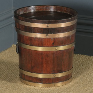 Antique English Victorian Oak & Brass Bound Butter Barrel Stool / Seat Bucket by R. A. Lister & Co. (Circa 1890)