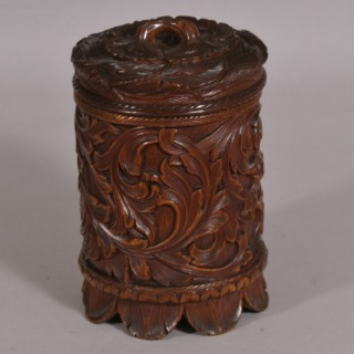 Antique Treen 19th Century Carved Birch Wood Spice Jar