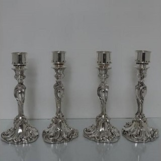 19th Century Antique Victorian Set Of Four Silver Plated Storm Candlesticks Elkington & Co