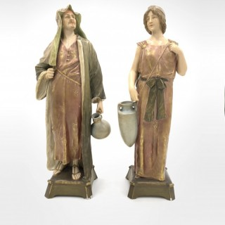 Pair of Royal Vienna Porcelain Figurines Man & Woman