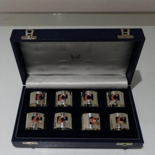 Set 8 Cased Silver & Enamelled Napkin Rings Retailed By Crawford