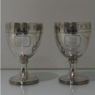 Early 19th Century Antique George III Sterling Silver Pair Wine Goblets London 1809 William Bennett