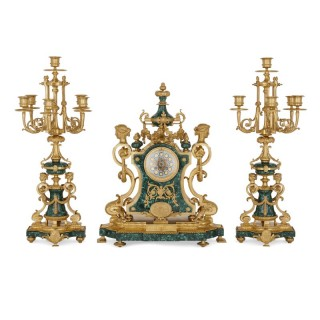 Napoleon III Period Neoclassical Style Three-Piece Clock Set