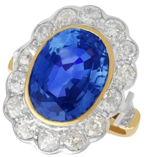 9.50ct Sapphire and 2.50ct Diamond, 18ct Yellow Gold and White Gold Cluster Ring - Vintage French Circa 1940