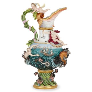 19th Century Meissen Porcelain 'Water' Elemental Ewer