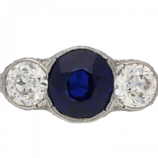 Antique sapphire and diamond ring, circa 1905.