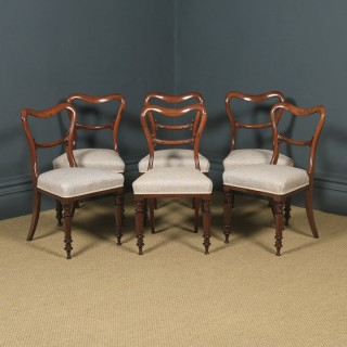 Antique English Victorian Set of Six 6 Mahogany Balloon Back Dining Chairs (Circa 1860)