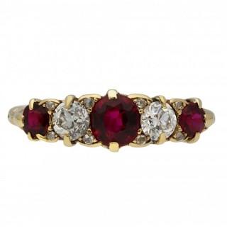 Victorian ruby and diamond five stone ring, circa 1890.