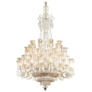 Victorian Period Cut Glass and Parcel Gilt Chandelier by F & C Osler