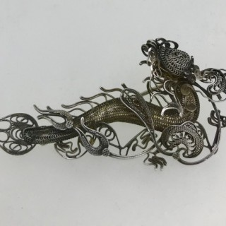 Chinese Silver Dragon Brooch