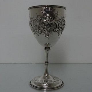 Mid 19th Century Antique Victorian Sterling Silver Wine Goblet London 1863 Charles Greville