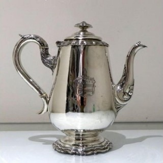 Early 19th Century Antique William IV Sterling Silver Coffee Pot London 1834 Michael Starkey