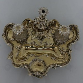 Victorian Antique Silver Gilt 19th Century Desk Inkstand London 1839 Charles Fox
