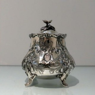 Mid 19th Century Antique Victorian Sterling Silver Tea Caddy London 1854 William Hunter