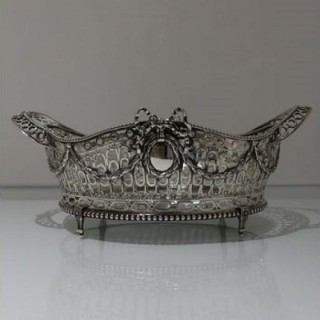 Early 20th Century George V Antique Sterling Silver Basket London 1911 Wakely & Wheeler
