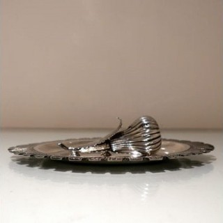 Mid 19th Century Antique Victorian Sterling Silver Desk Inkwell London 1864 George Fox