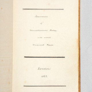 """Manuscript anthology: """"Specimens of Miscellaneous Poetry with several Original Pieces."""""""