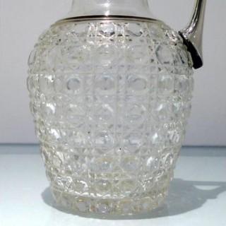 Early 20th Century Antique George V Sterling Silver & Crystal Claret Jug Birmingham 1912 Hukin & Heath