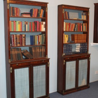 Pair of Regency Rosewood and Gilt metal mounted bookcases