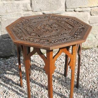 Well Carved Oak Arabic Octagonal table