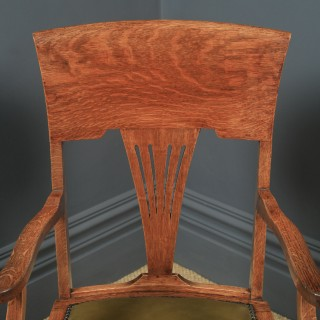 Antique English Edwardian Art Nouveau Oak & Leather Revolving Office Desk Arm Chair (Circa 1910)
