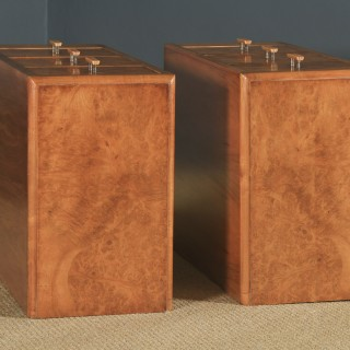 Antique English Pair of Art Deco Figured Walnut Bedside Chests / Tables / Nightstands (Circa 1930)