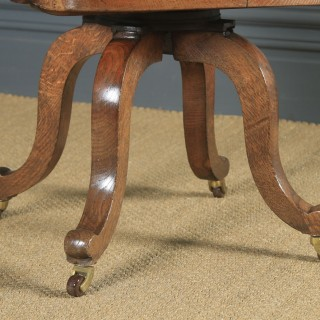 Antique English Victorian Oak & Red Leather Revolving Office Desk Arm Chair (Circa 1880)