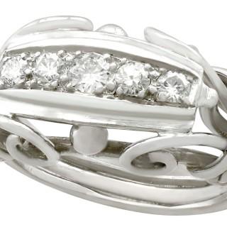 0.42 ct Diamond and 18 ct White Gold Dress Ring - Vintage Belgian Circa 1940