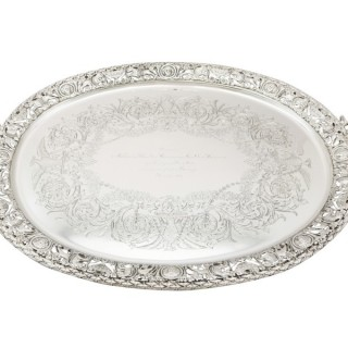 Sterling Silver Tea Tray by Mappin & Webb Ltd - Antique Victorian (1894)