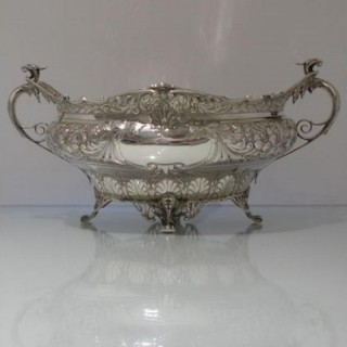 Early 20th Century Antique George V Large Sterling Silver Bowl Sheffield 1917 Henry Atkin