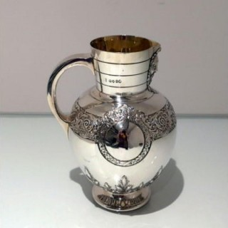 19th Century Antique Victorian Sterling Silver Wine Jug London 1873 Richard Martin & Ebenezer Hall