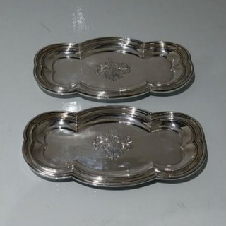 Early 19th Century Antique George Iv Sterling Silver Pair Snuffer Trays London 1824 Benjamin Smith III