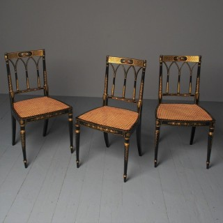 Set of 3 Regency Style Painted Bergere Chairs