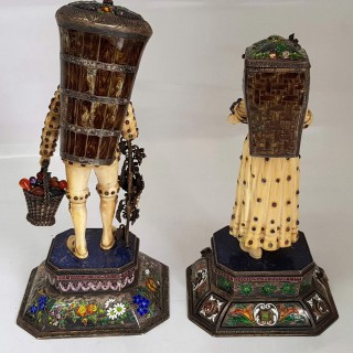 Pair Of Austrian Silver And Ivory Harvester Figurines