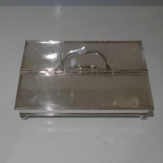 20th Century Modern George V Sterling Silver Large Treasury Inkstand London 1928 John S Harman & Co
