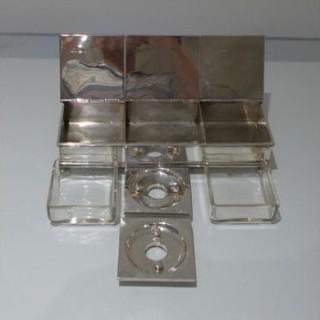 20th Century Modern George V Sterling Silver Large Treasury Inkstand London 1928 John S Harman & Co