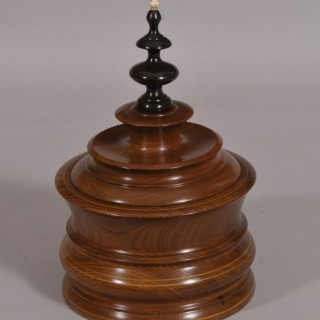 Antique Treen 19th Century Turned Mahogany Tobacco Jar