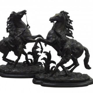 PAIR OF 19TH CENTURY BRONZE MARLY HORSES