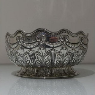 19th Century Antique Victorian Sterling Silver Rose Bowl London 1892 Richard Martin & Ebenezer Hall