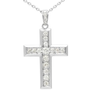 0.72 ct Diamond and 18 ct White Gold Cross Pendant - Antique Circa 1930
