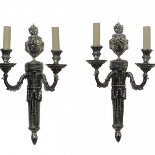 Pair Of 19th Century Silvered Bronze Wall Lights