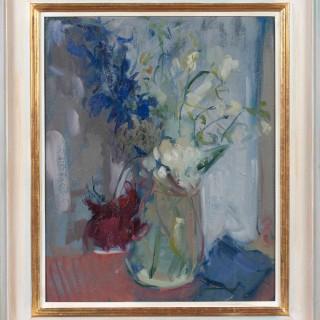 'Garden Flowers in a Jam Jar' by Serena Rowe