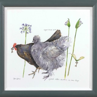 'Chicken and some keys' original watercolour by Janice Gray
