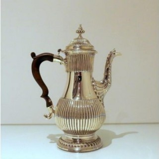 Mid 18th Century Antique George III Sterling Silver Coffee Pot London 1768 Charles Wright