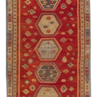 Turkish Kilim Rug, Handmade Oriental Flatweave Rug- 163x327cm