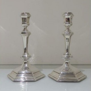 Early 18th Century Antique George I Britannia Silver Pair Hexagonal Candlesticks London 1717 Thomas Mason