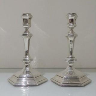 Early 18th Century Antique George I Britannia Silver Pair Hexagonal Candlesticks London 1717 Thomas Mason